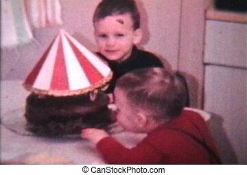 zeer, jongen, jarig, (1966), vrolijke