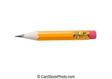 zeer, kort, geel potlood, met, een, rubber