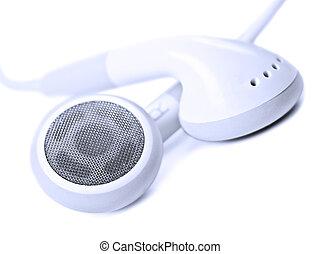 zeer, macro, ondiep, -, op, akker, diepte, afsluiten, witte , oortelefoons
