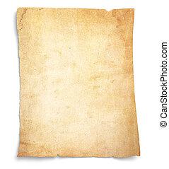zeer, oud, bevlekte, leeg, papier