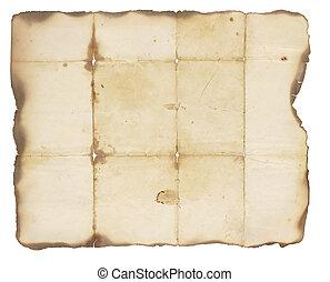 zeer, oud, papier, met, gebrande, randen