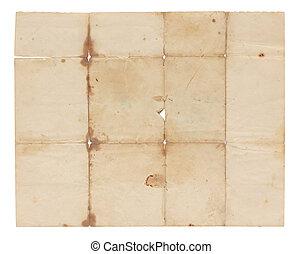 zeer, oud, papier, unfolded, leeg