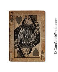 zeer, oud, speelkaart, hartenvrouw