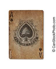 zeer, oud, speelkaart, schoppen aas