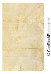 zeer, oud, unfolded, leeg, gelijnd papier