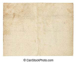 zeer, papier, oud, yellowed, leeg