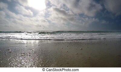 zeer, snele-bewegen, wolken, zee, golven