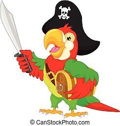 zeerover, papegaai, spotprent