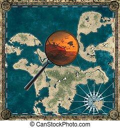 zeeschuimer kaart, van, het onbekend, land, met, vergrootglas, 3d, vertolking