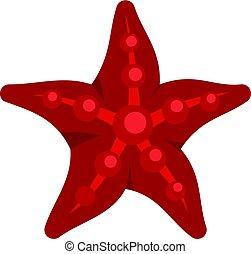 zeester, pictogram, rood, vrijstaand