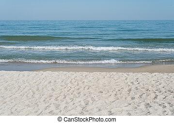 zeezicht, met, zandig strand