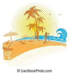 zeezicht, surfer, tropische , achtergrond, wit strand, .vector