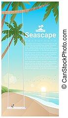 zeezicht, tropische , 3, achtergrond, schommel, strand