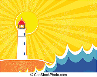 zeezicht, vuurtoren, vector, horizon., illustratie
