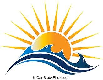 zeezicht, zonneschijn, vector, illustratie, logo