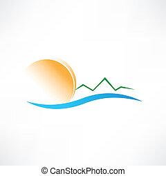zeezicht, zonopkomst, pictogram