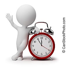 zegar, alarm, ludzie, -, mały, 3d
