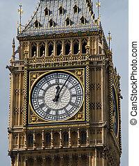 zegar, cielna, do góry, twarz, uk., londyn, zamknięcie, ben