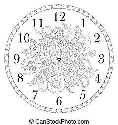 zegar, doodle, twarz, tło, ozdobny, kwiaty, biały