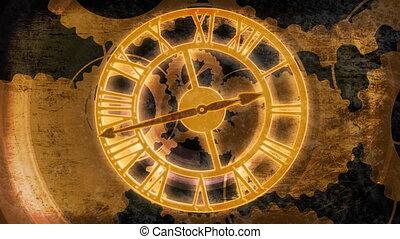 zegar, mechanizmy, zawiązywanie, ożywiony, bg