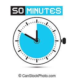 zegar, -, pilnowanie, ilustracja, pięćdziesiąt, zatrzymywać, wektor, minuty