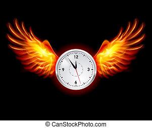zegar, z, ogień, skrzydełka