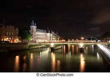 zegen, &, parijs, frankrijk, rivier, conciergerie