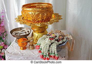 zegenen, water, thai, trouwfeest