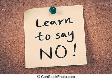 zeggen, leren, nee