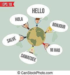zeggen, wereld, vector, -, talen, hallo, eps10, illustratie