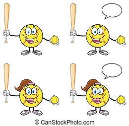 zeichen, 4, sammlung, softball