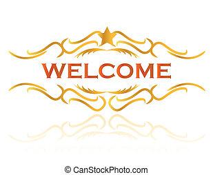 zeichen, abbildung, herzlich willkommen, design