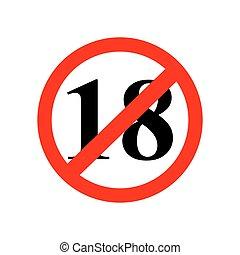zeichen, auf, zu, achtzehn, jahre, von, alter, gleichfalls, verboten