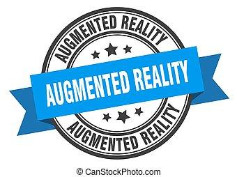zeichen., augmented, realityround, label., briefmarke, band...