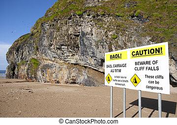 zeichen, ballybunion, warnung, fällt, sandstrand, ...