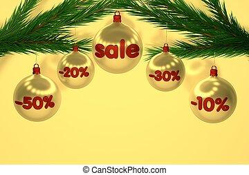 zeichen, baubles, verkauf, weihnachten, rotes