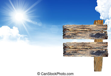 zeichen, blauer himmel, wolkenhimmel, wälder