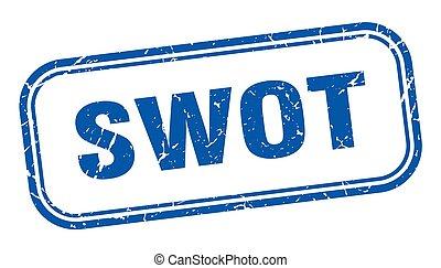 zeichen., etikett, quadrat, blaues, swot, grunge, stamp.