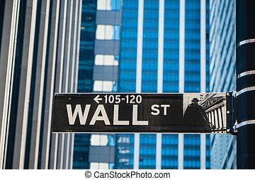 zeichen, für, wall street, in, new york city