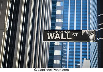zeichen, für, wall street, new york