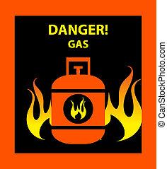 zeichen, gefahr, propan, butan, gas