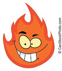 zeichen, grinsen, flamme