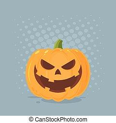 zeichen, halloween, übel, gesicht, grinsen, emoji, ausdruck, karikatur, kã¼rbis