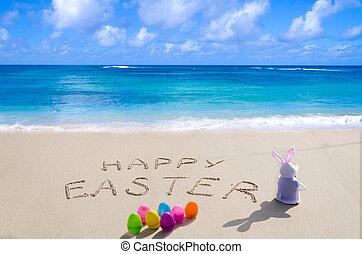 """zeichen, """"happy, easter"""", mit, kaninchen, strand"""