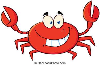 zeichen, karikatur, krabbe, maskottchen