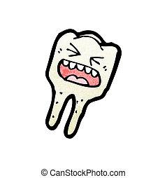 zeichen, karikatur, zahn