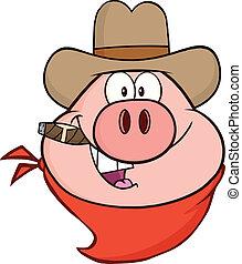 zeichen, kopf, karikatur, cowboy, schwein