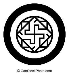 zeichen, kreis, valkiriya, symbol, runder , bild, farbe, vektor, valkyrie, varangian, ikone, schwarz, slawisch, stil, wohnung, abbildung