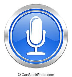 zeichen, mikrophon, blaues, podcast, taste, ikone