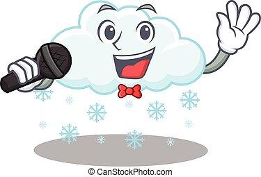zeichen, mikrophon, s�nger, wolke, besitz, karikatur, verschneiter , begabt